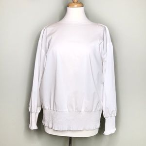 NWT Marled Smocked Popover Blouse Size M